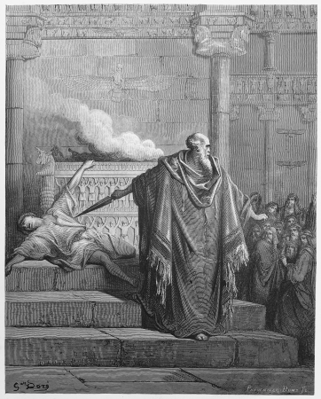 Mattathias and the Apostate - Picture from The Holy Scriptures, Old and New Testaments books collection published in 1885, Stuttgart-Germany. Drawings by Gustave Dore.  Editorial