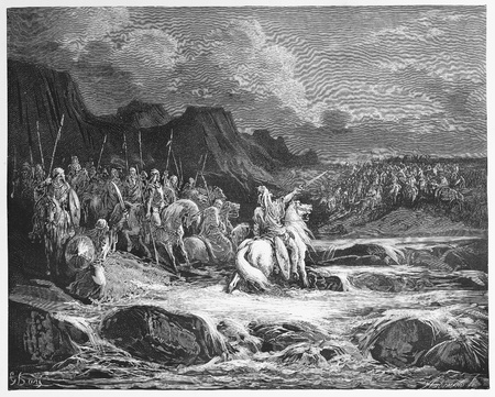 pursuing: Judas Maccabeus Pursuing Timotheus - Picture from The Holy Scriptures, Old and New Testaments books collection published in 1885, Stuttgart-Germany. Drawings by Gustave Dore.