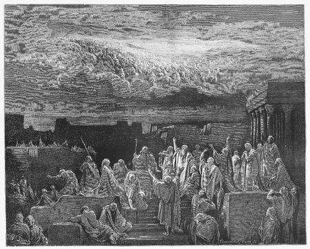 heavenly angels: The Heavenly Army - Picture from The Holy Scriptures, Old and New Testaments books collection published in 1885, Stuttgart-Germany. Drawings by Gustave Dore.
