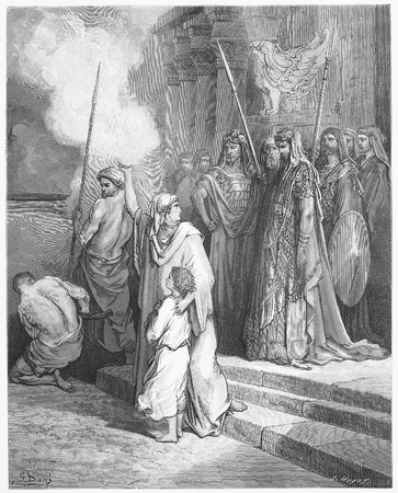 testaments: Courage of a Mother - Picture from The Holy Scriptures, Old and New Testaments books collection published in 1885, Stuttgart-Germany. Drawings by Gustave Dore.