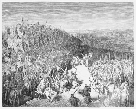 Judas Maccabeus before the Army of Nicanor - Picture from The Holy Scriptures, Old and New Testaments books collection published in 1885, Stuttgart-Germany. Drawings by Gustave Dore.