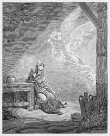 testaments: The Annunciation - Picture from The Holy Scriptures, Old and New Testaments books collection published in 1885, Stuttgart-Germany. Drawings by Gustave Dore. Editorial