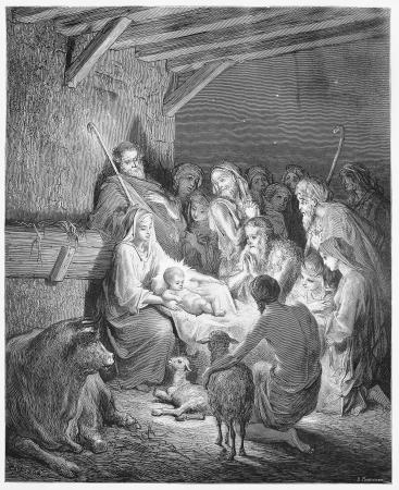 nascita di gesu: La Nativit� - Foto da Le Sacre Scritture, Vecchio e Nuovo Testamento di raccolta libri pubblicati nel 1885, Stoccarda-Germania. Disegni di Gustave Dore. Editoriali