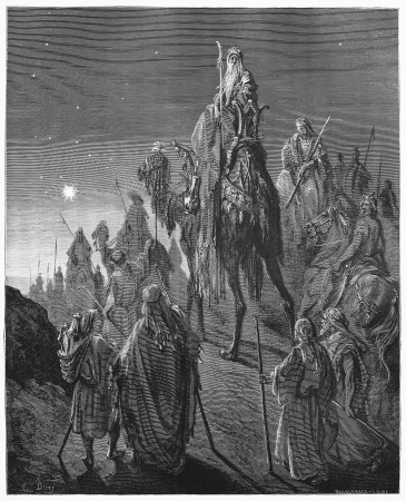 testaments: The Magi from the East - Picture from The Holy Scriptures, Old and New Testaments books collection published in 1885, Stuttgart-Germany. Drawings by Gustave Dore.