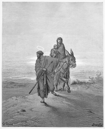 The Flight into Egypt - Picture from The Holy Scriptures, Old and New Testaments books collection published in 1885, Stuttgart-Germany. Drawings by Gustave Dore.  Stock Photo - 16102218