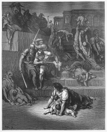 massacre: The Massacre of the Innocents - Picture from The Holy Scriptures, Old and New Testaments books collection published in 1885, Stuttgart-Germany. Drawings by Gustave Dore.