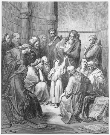 Jesus with the Doctors - Picture from The Holy Scriptures, Old and New Testaments books collection published in 1885, Stuttgart-Germany. Drawings by Gustave Dore.