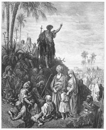 testaments: John the Baptist Preaches in the Wilderness - Picture from The Holy Scriptures, Old and New Testaments books collection published in 1885, Stuttgart-Germany. Drawings by Gustave Dore.  Editorial