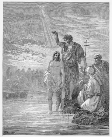 baptism of jesus: The Baptism of Jesus - Picture from The Holy Scriptures, Old and New Testaments books collection published in 1885, Stuttgart-Germany. Drawings by Gustave Dore.
