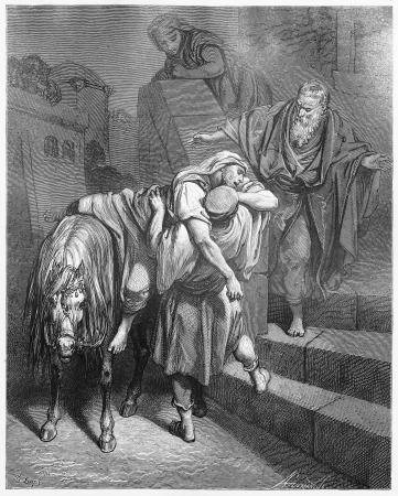 testaments: Arrival of the Good Samaritan at the Inn - Picture from The Holy Scriptures, Old and New Testaments books collection published in 1885, Stuttgart-Germany. Drawings by Gustave Dore.  Editorial