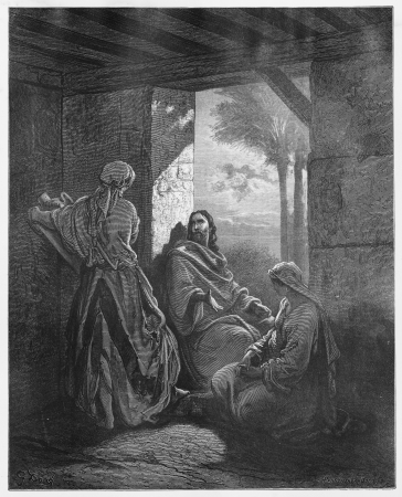 Jesus in the House of Martha and Mary - Picture from The Holy Scriptures, Old and New Testaments books collection published in 1885, Stuttgart-Germany. Drawings by Gustave Dore.
