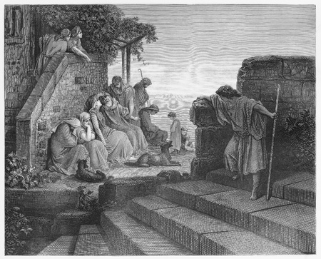 The Return of the Prodigal Son - Picture from The Holy Scriptures, Old and New Testaments books collection published in 1885, Stuttgart-Germany. Drawings by Gustave Dore.
