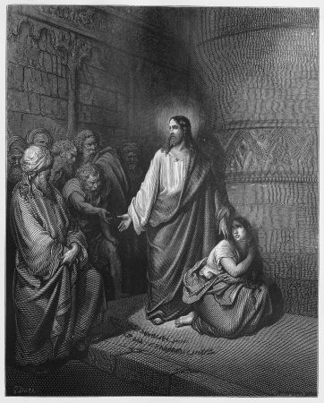 biblical events: Jesus and the Woman Taken in Adultery - Picture from The Holy Scriptures, Old and New Testaments books collection published in 1885, Stuttgart-Germany. Drawings by Gustave Dore.