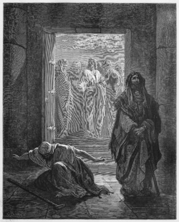The Pharisee and the Publican - Picture from The Holy Scriptures, Old and New Testaments books collection published in 1885, Stuttgart-Germany. Drawings by Gustave Dore.