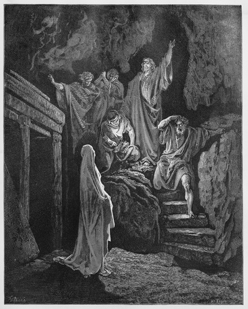 act of god: Resurrection of Lazarus - Picture from The Holy Scriptures, Old and New Testaments books collection published in 1885, Stuttgart-Germany. Drawings by Gustave Dore.