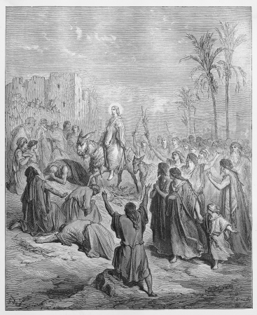 Entry of Jesus into Jerusalem - Picture from The Holy Scriptures, Old and New Testaments books collection published in 1885, Stuttgart-Germany. Drawings by Gustave Dore.  Stock Photo - 16102372