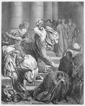 biblical: The Buyers and Sellers Driven Out of the Temple - Picture from The Holy Scriptures, Old and New Testaments books collection published in 1885, Stuttgart-Germany. Drawings by Gustave Dore.