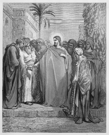 testaments: Jesus Christ and the Tribute Money - Picture from The Holy Scriptures, Old and New Testaments books collection published in 1885, Stuttgart-Germany. Drawings by Gustave Dore.