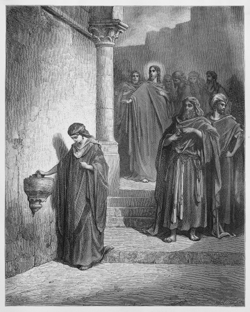 prophecy: Jesus Last Days in the Temple; The Widows Mite - Picture from The Holy Scriptures, Old and New Testaments books collection published in 1885, Stuttgart-Germany. Drawings by Gustave Dore.  Editorial