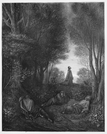jesus praying: Jesus praying in the Garden - Picture from The Holy Scriptures, Old and New Testaments books collection published in 1885, Stuttgart-Germany. Drawings by Gustave Dore.  Editorial