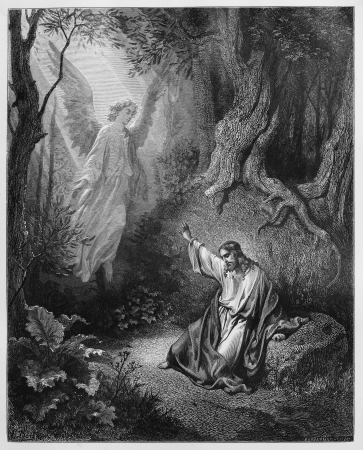 biblical: The Agony in the Garden - Picture from The Holy Scriptures, Old and New Testaments books collection published in 1885, Stuttgart-Germany. Drawings by Gustave Dore.