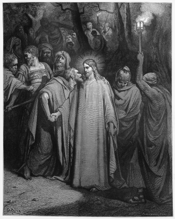 son of god: The Kiss of Judas - Picture from The Holy Scriptures, Old and New Testaments books collection published in 1885, Stuttgart-Germany. Drawings by Gustave Dore.