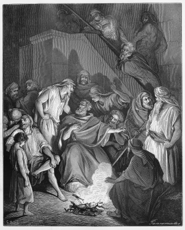 Peter Denies Knowing Jesus - Picture from The Holy Scriptures, Old and New Testaments books collection published in 1885, Stuttgart-Germany. Drawings by Gustave Dore. Editorial