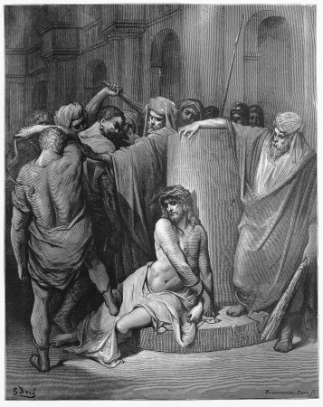 biblical: Jesus Scourged - Picture from The Holy Scriptures, Old and New Testaments books collection published in 1885, Stuttgart-Germany. Drawings by Gustave Dore.  Editorial