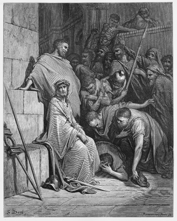 testaments: Jesus is Mocked - Picture from The Holy Scriptures, Old and New Testaments books collection published in 1885, Stuttgart-Germany. Drawings by Gustave Dore.
