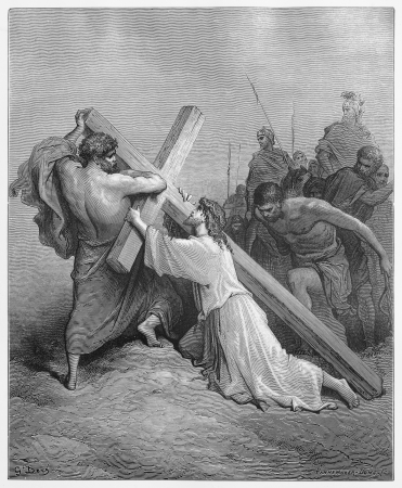 Jesus Falls with the Cross - Picture from The Holy Scriptures, Old and New Testaments books collection published in 1885, Stuttgart-Germany. Drawings by Gustave Dore.