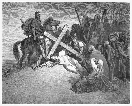 arrives: Jesus Arrives at Calvary - Picture from The Holy Scriptures, Old and New Testaments books collection published in 1885, Stuttgart-Germany. Drawings by Gustave Dore.