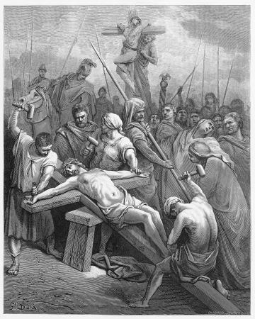 Jezus is aan het kruis genageld - Foto van de Heilige Schrift, het Oude en het Nieuwe Testament boeken collectie gepubliceerd in 1885, Stuttgart-Duitsland. Tekeningen van Gustave Dore.