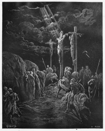 son of god: The Death of Jesus - Picture from The Holy Scriptures, Old and New Testaments books collection published in 1885, Stuttgart-Germany. Drawings by Gustave Dore.