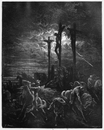 biblical events: Darkness at the Crucifixion - Picture from The Holy Scriptures, Old and New Testaments books collection published in 1885, Stuttgart-Germany. Drawings by Gustave Dore.
