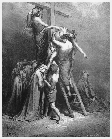 jesus on the cross: Joseph of Arimathea brings Jesus down from the cross - Picture from The Holy Scriptures, Old and New Testaments books collection published in 1885, Stuttgart-Germany. Drawing by Gustave Dore.