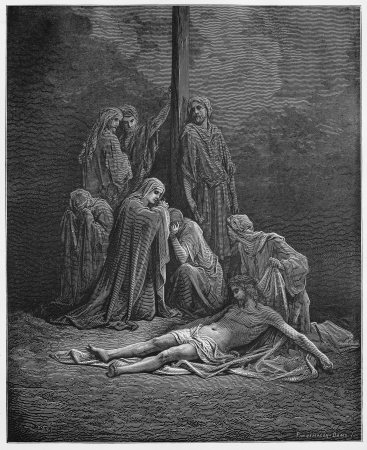 burial: The women bind up and anoint Jesus body for burial - Picture from The Holy Scriptures, Old and New Testaments books collection published in 1885, Stuttgart-Germany. Drawings by Gustave Dore.