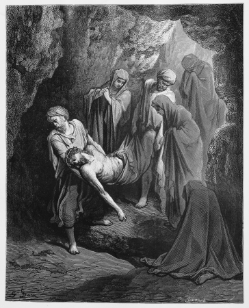biblical events: Jesus is buried in the sepulcher - Picture from The Holy Scriptures, Old and New Testaments books collection published in 1885, Stuttgart-Germany. Drawings by Gustave Dore.
