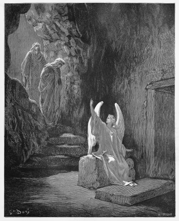 biblical: An angel announces to the women that Jesus has risen - Picture from The Holy Scriptures, Old and New Testaments books collection published in 1885, Stuttgart-Germany. Drawings by Gustave Dore.