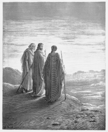biblical events: The disciples encounter Jesus on the road to Emmaus - Picture from The Holy Scriptures, Old and New Testaments books collection published in 1885, Stuttgart-Germany. Drawings by Gustave Dore.
