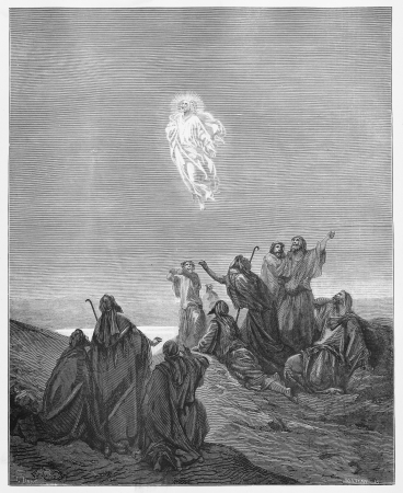 Jesus Ascends to Heaven - Picture from The Holy Scriptures, Old and New Testaments books collection published in 1885, Stuttgart-Germany. Drawings by Gustave Dore.