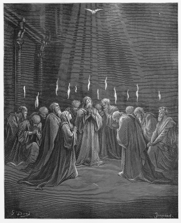holy spirit: Descent of the Holy Spirit - Picture from The Holy Scriptures, Old and New Testaments books collection published in 1885, Stuttgart-Germany. Drawings by Gustave Dore.