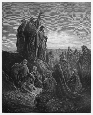 testaments: Apostles Preach the Gospel - Picture from The Holy Scriptures, Old and New Testaments books collection published in 1885, Stuttgart-Germany. Drawings by Gustave Dore.