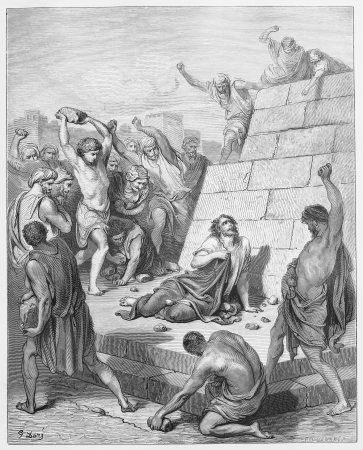 martyrdom: Martyrdom of Stephen - Picture from The Holy Scriptures, Old and New Testaments books collection published in 1885, Stuttgart-Germany. Drawings by Gustave Dore.