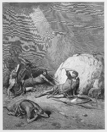 Conversion of Saul - Picture from The Holy Scriptures, Old and New Testaments books collection published in 1885, Stuttgart-Germany. Drawings by Gustave Dore.