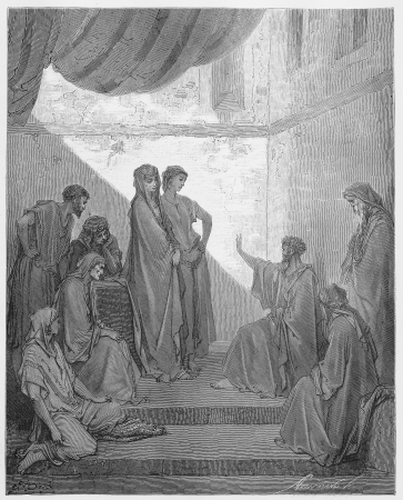 Peter in the House of Cornelius - Picture from The Holy Scriptures, Old and New Testaments books collection published in 1885, Stuttgart-Germany. Drawings by Gustave Dore.