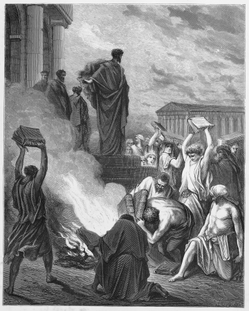 biblical events: Paul Preaches at Ephesus - Picture from The Holy Scriptures, Old and New Testaments books collection published in 1885, Stuttgart-Germany. Drawings by Gustave Dore. Editorial