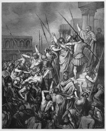 historical periods: Paul Is Rescued from the Crowd - Picture from The Holy Scriptures, Old and New Testaments books collection published in 1885, Stuttgart-Germany. Drawings by Gustave Dore.