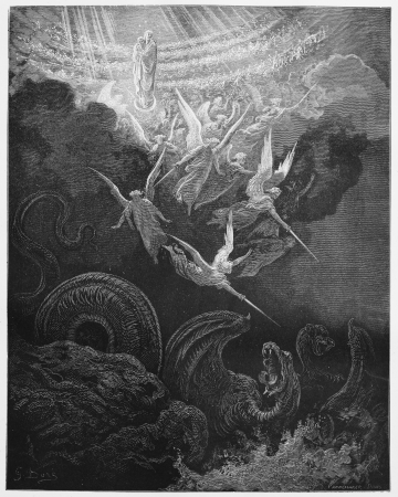 testaments: The Woman and Dragon - Picture from The Holy Scriptures, Old and New Testaments books collection published in 1885, Stuttgart-Germany. Drawings by Gustave Dore.