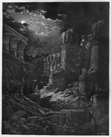 testaments: The Fall of Babylon - Picture from The Holy Scriptures, Old and New Testaments books collection published in 1885, Stuttgart-Germany. Drawings by Gustave Dore.