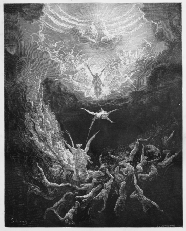 biblical: The Last Judgment - Picture from The Holy Scriptures, Old and New Testaments books collection published in 1885, Stuttgart-Germany. Drawings by Gustave Dore.